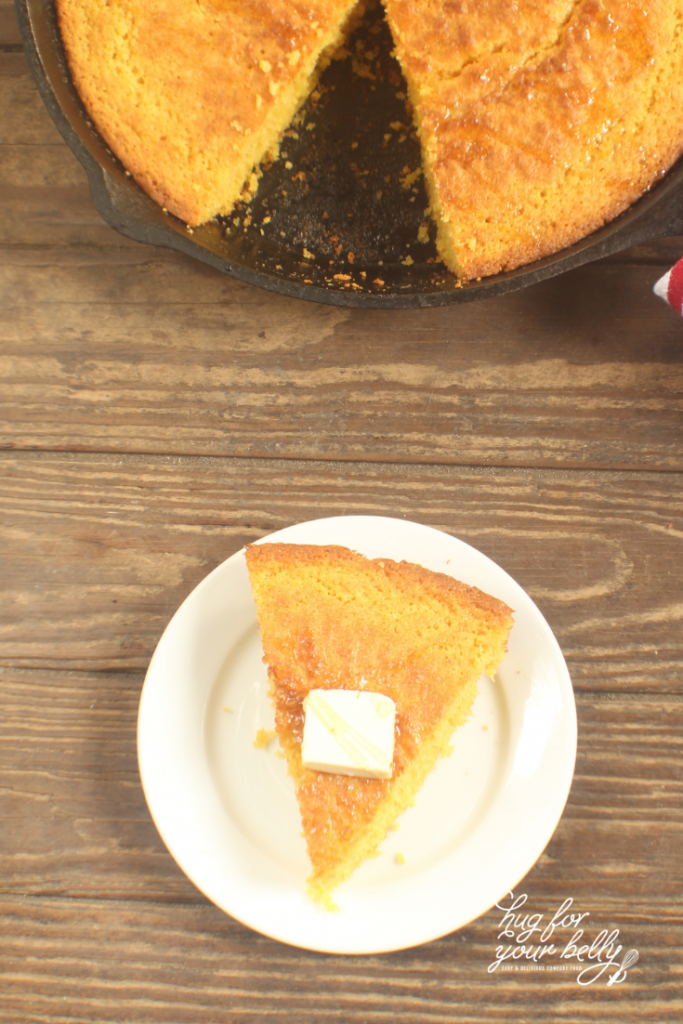 cornbread slice on white plate