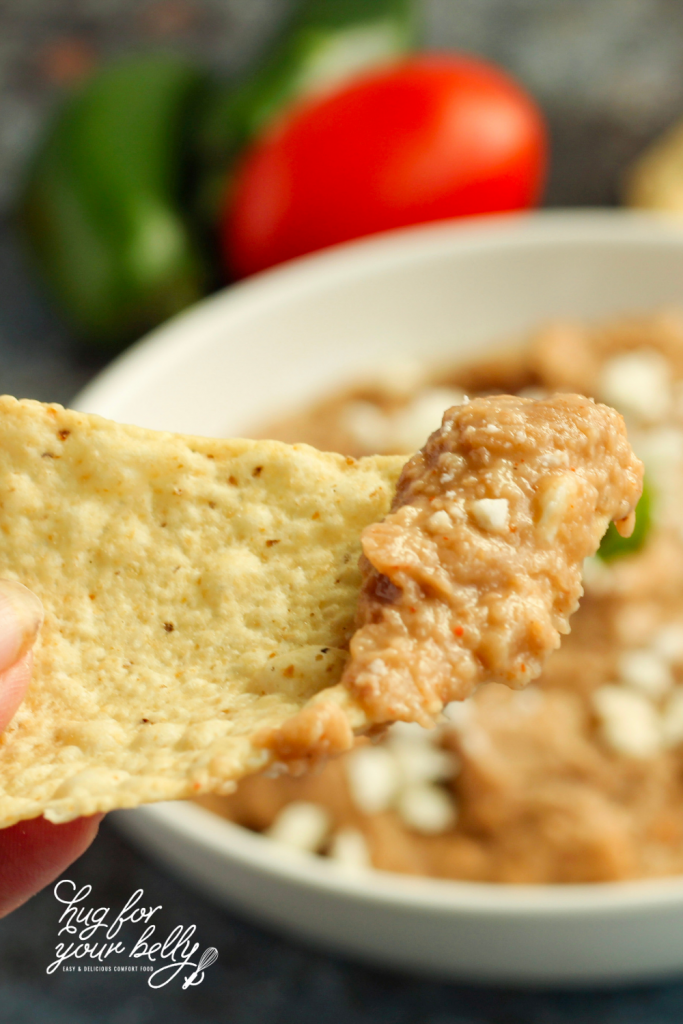 refried beans on tortilla chip