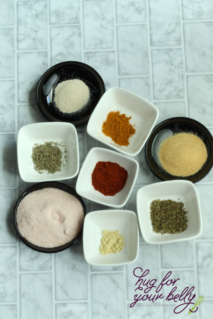 spices for seasoning salt in individual dishes