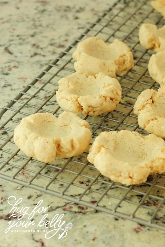 thumbprint cookies on cooling rack