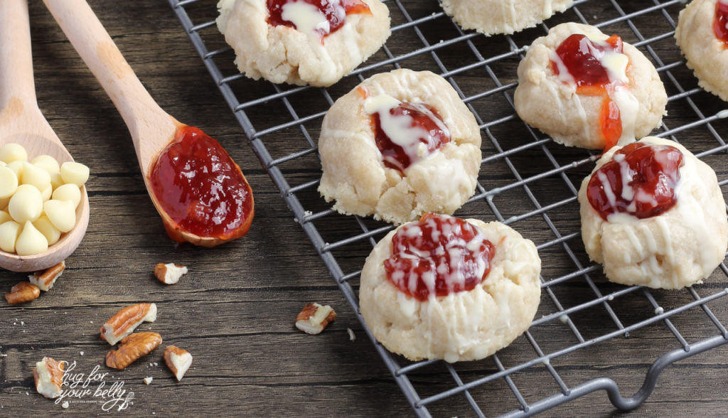 thumbprint cookies on cooling rack