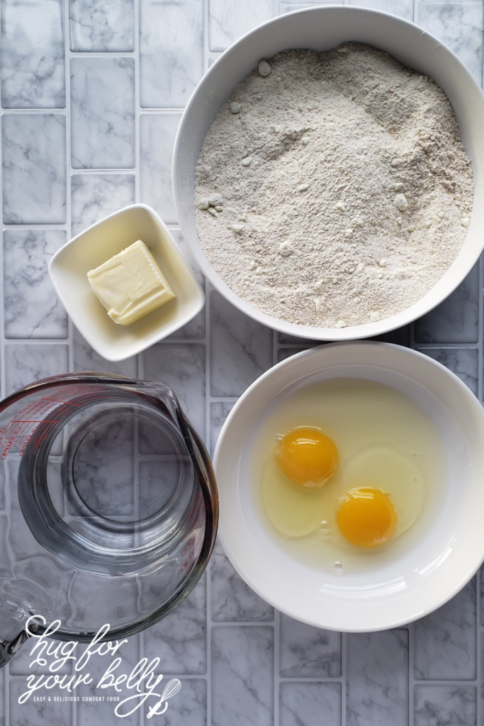 ingredients for fluffy pancakes from homemade pancake mix