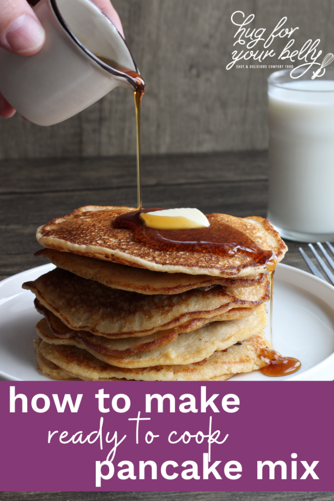 fluffy pancakes with syrup being poured over them