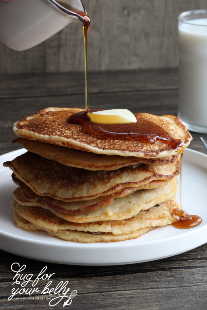 syrup on fluffy homemade pancakes