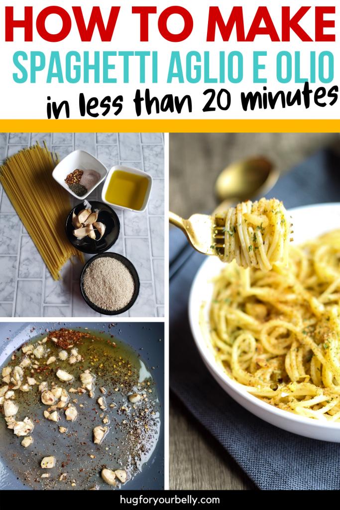 making spaghetti aglio e olio