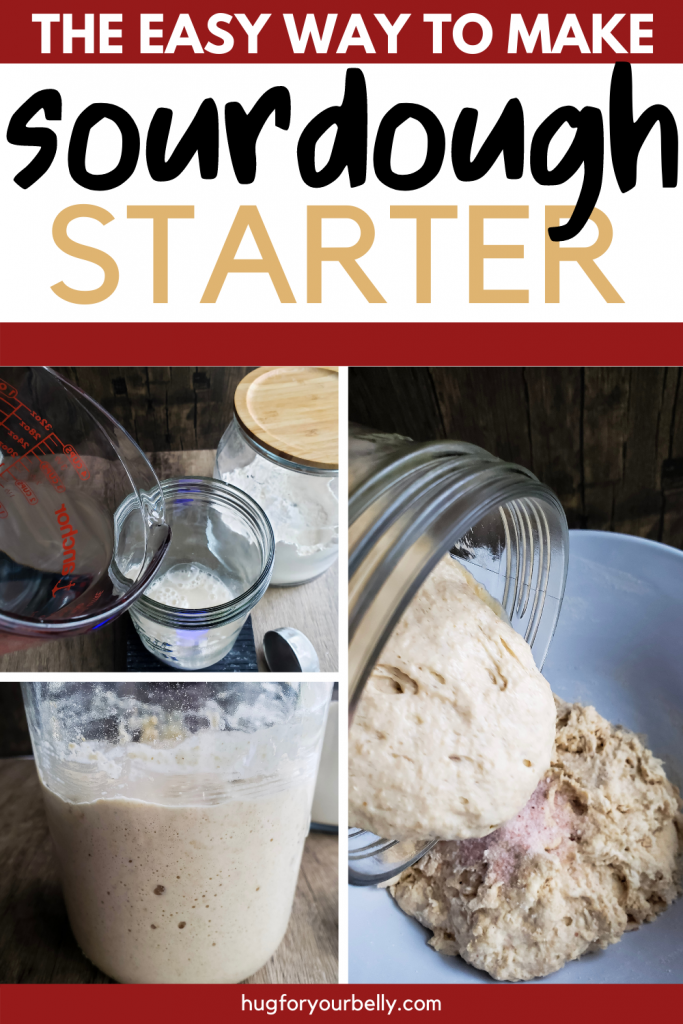 homemade sourdough starter being poured into bowl with flour and salt to make bread