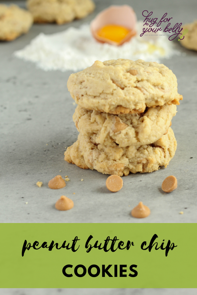 peanut butter chip cookies stacked