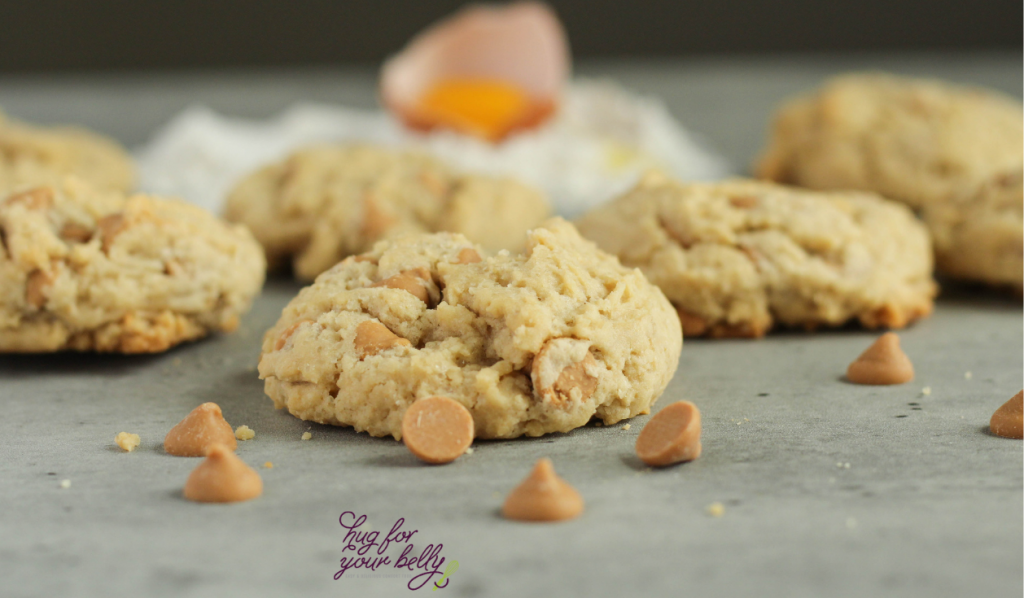 peanut butter chip cookies on marble background