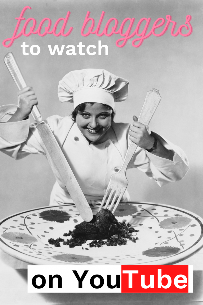 woman cooking with oversized plate and utensils