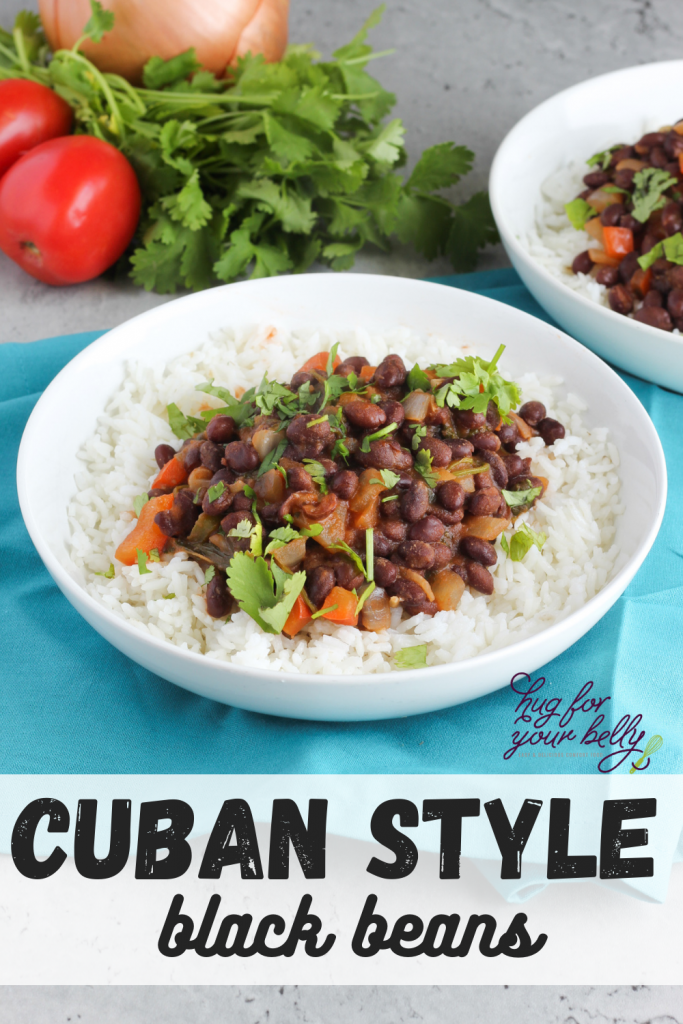 Cuban style black beans in white bowl