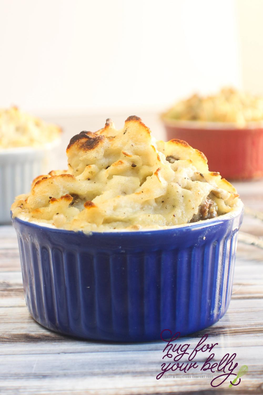 blue dish with crispy mashed potatoes